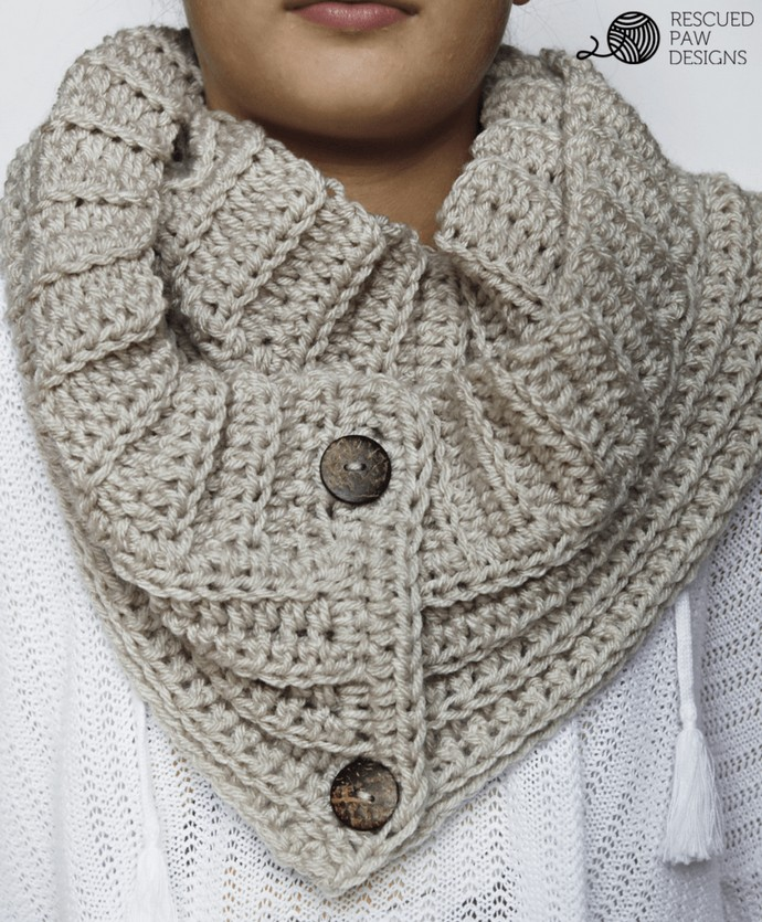 Andy Button Scarf Free Crochet