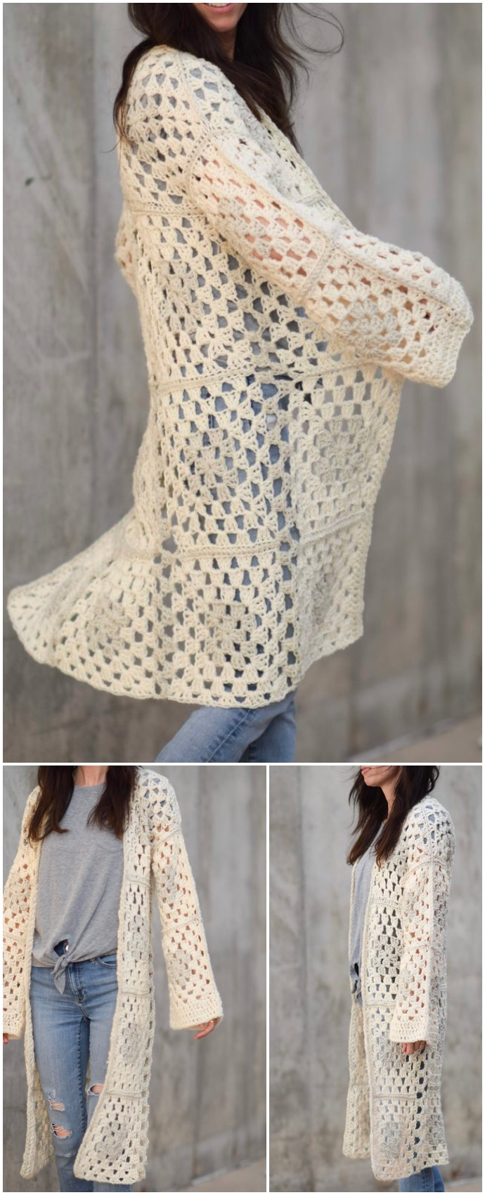 Arlo Granny Square Free Crocheted Cardigan
