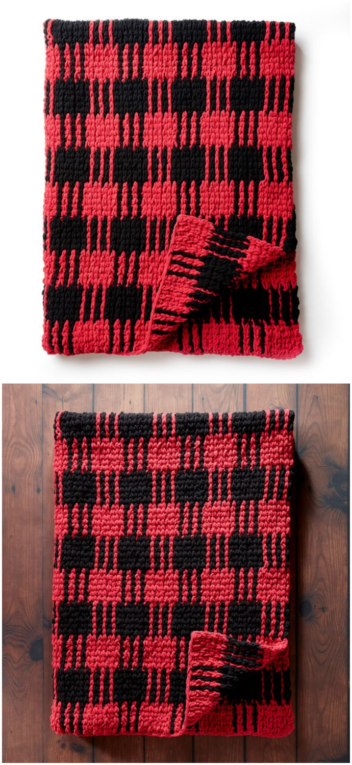 Bernat Free Crochet Buffalo Plaid Afghan