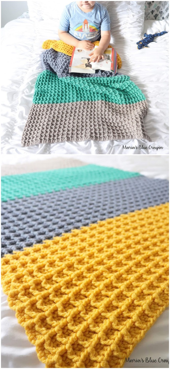 Color Block Free Crochet Blanket Pattern