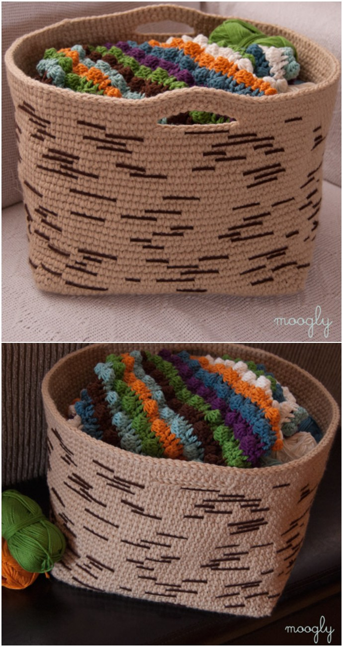 Free Crochet Birch Bark Basket