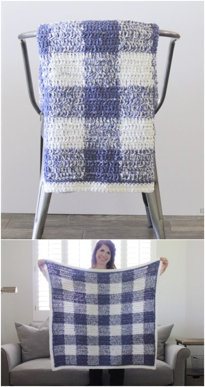Free Crochet Blue Gingham Blanket