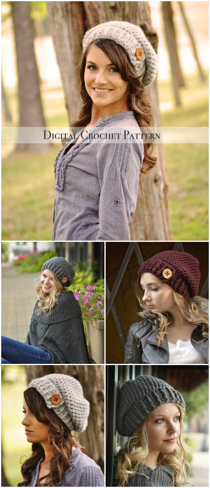 Free Crochet Button Tab Slouchy Hat