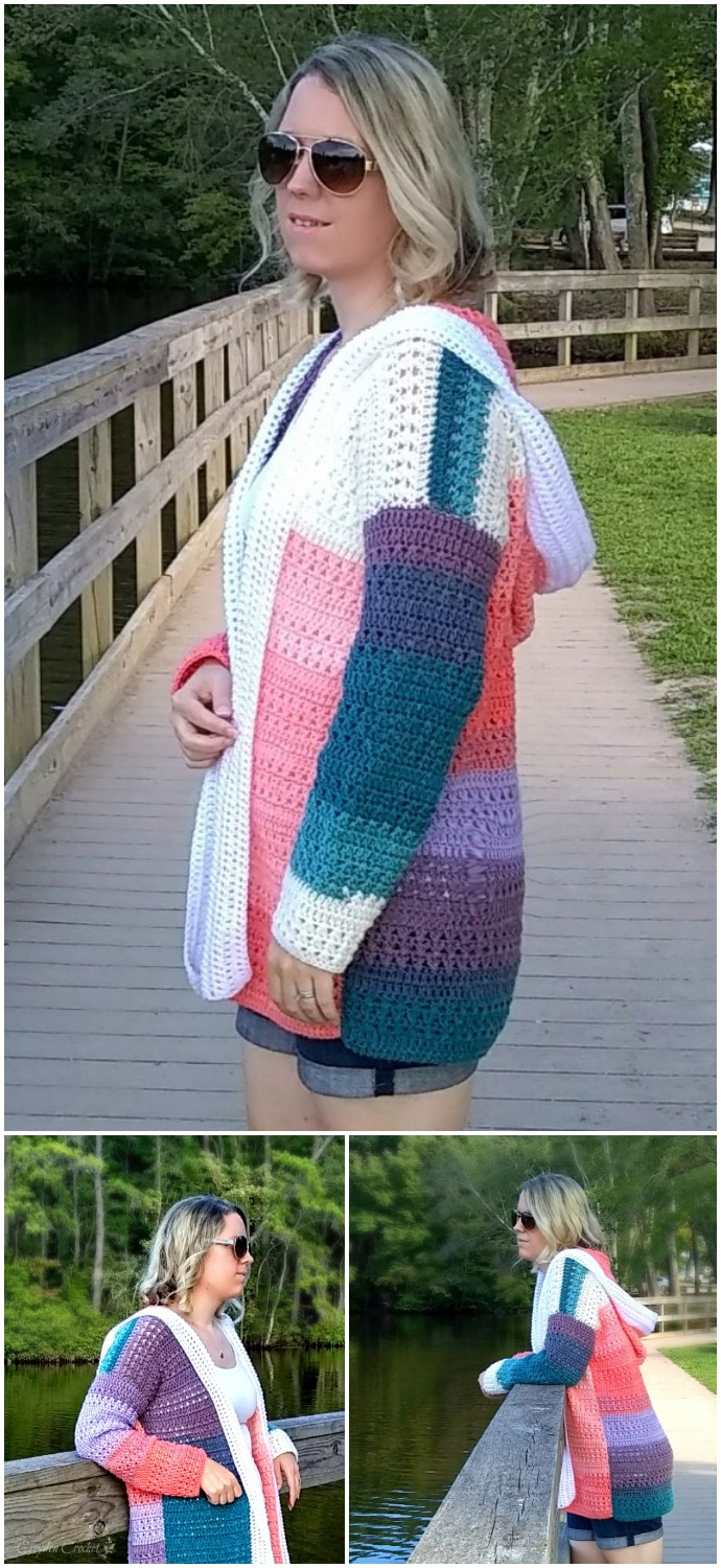 Free Crochet Colorblock Cardigan
