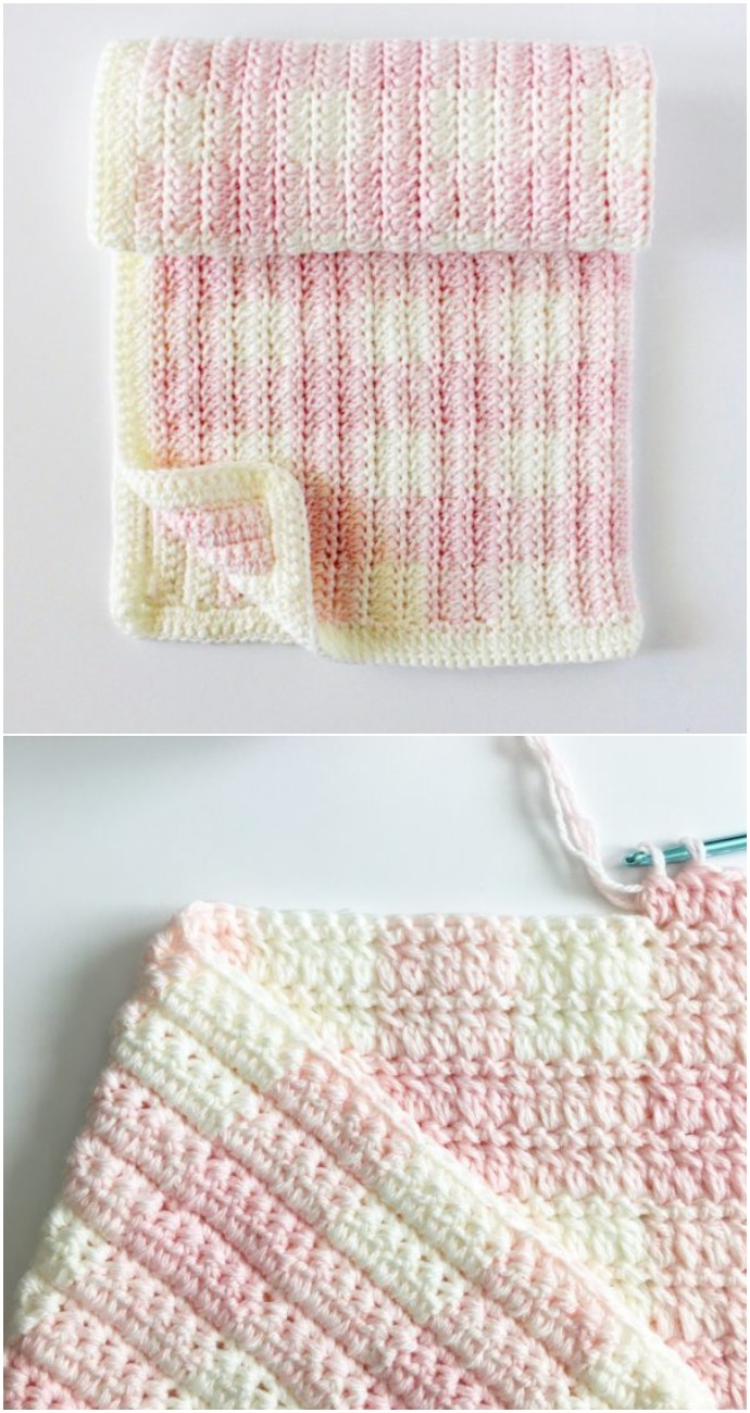 Free Crochet Light Pink Gingham Blanket