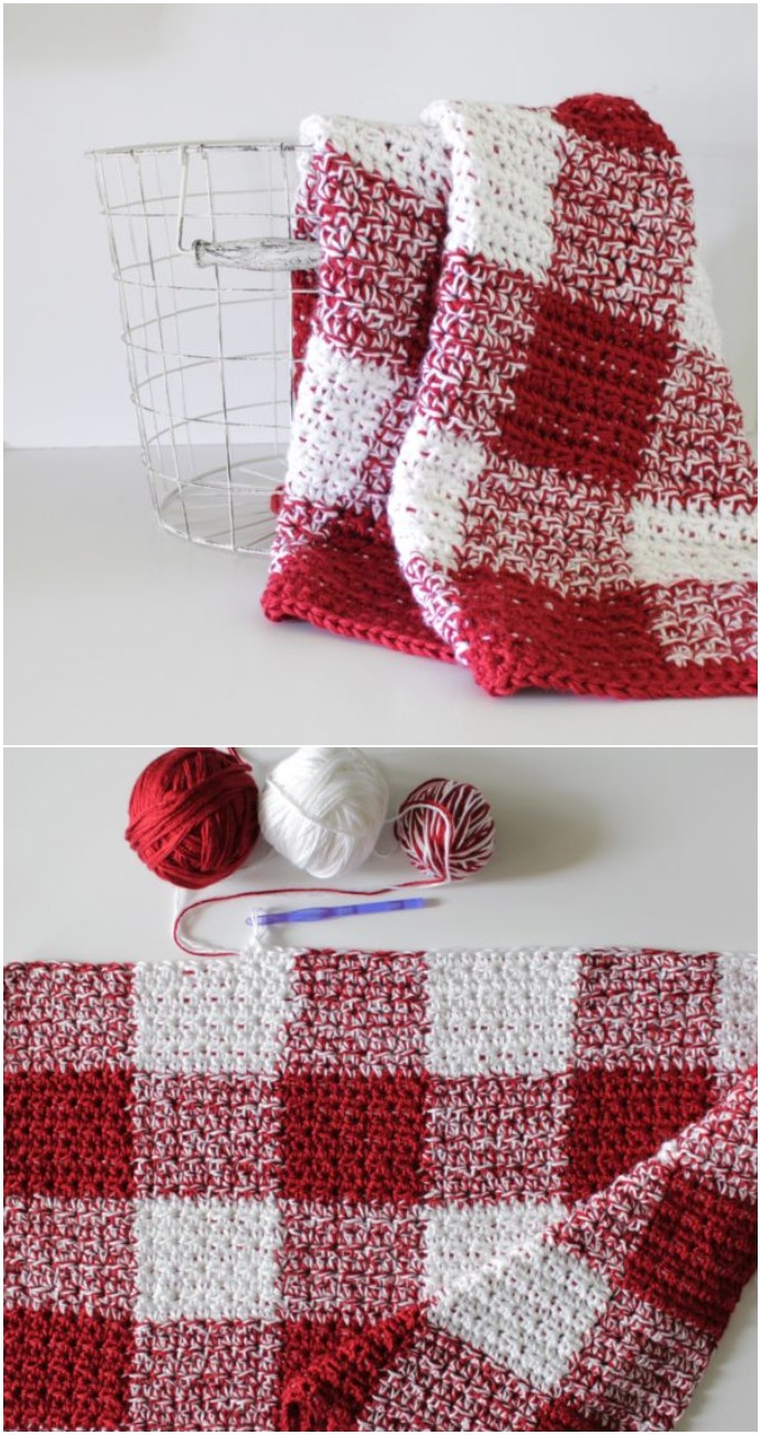 Free Crochet Red Gingham Blanket