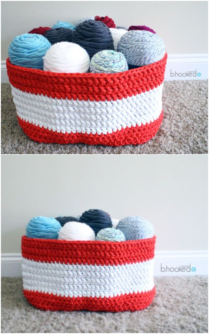 Free Crochet Yarn Stash Basket