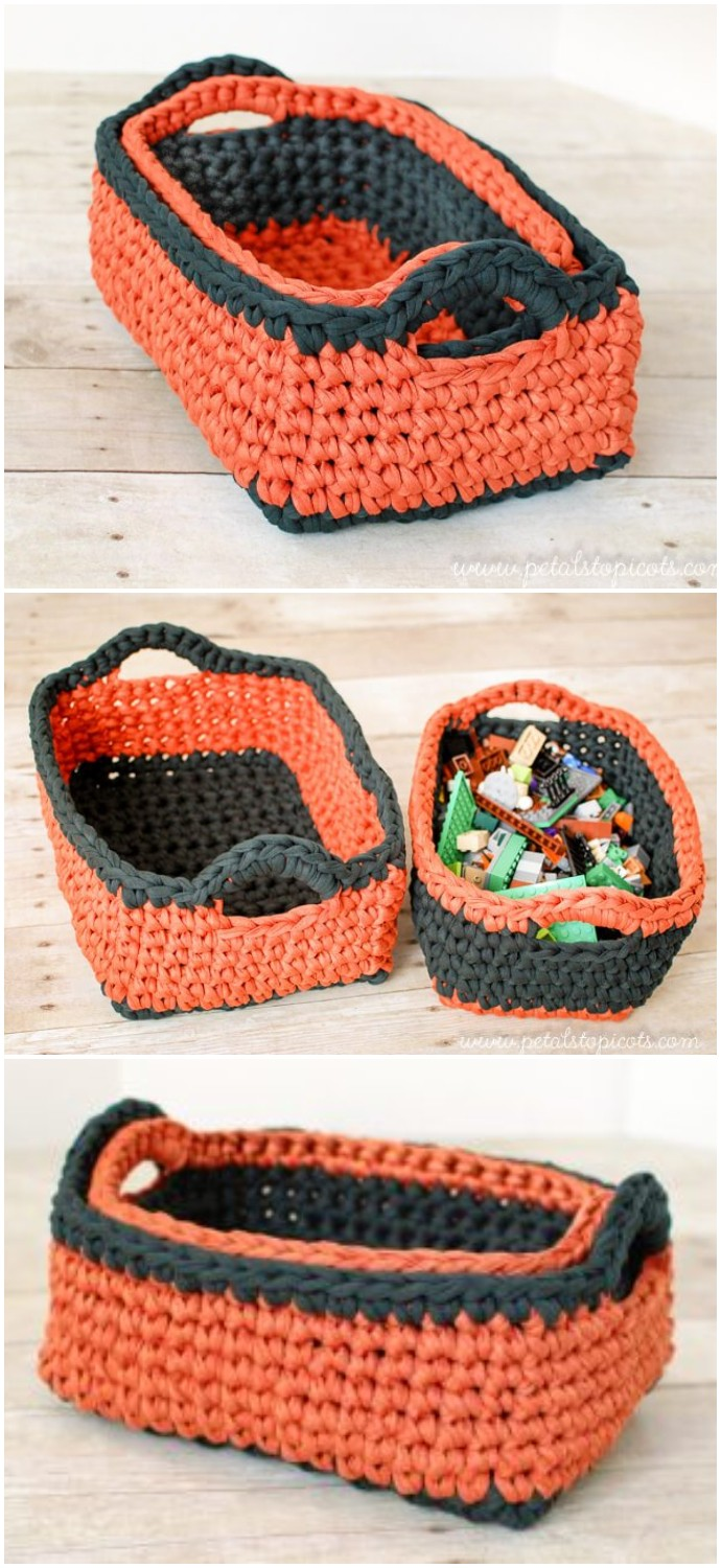 Rectangular Free Crochet Basket