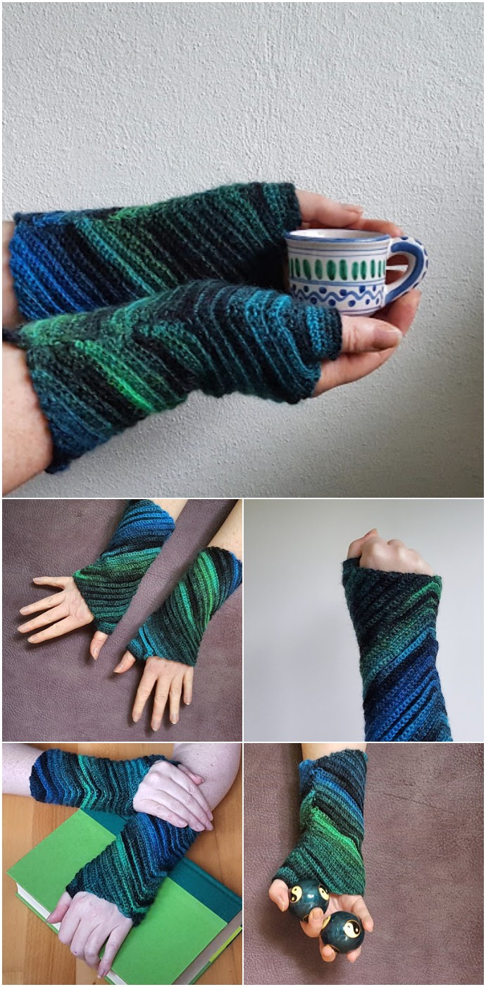 Sankaku Wrist Warmers in Crochet