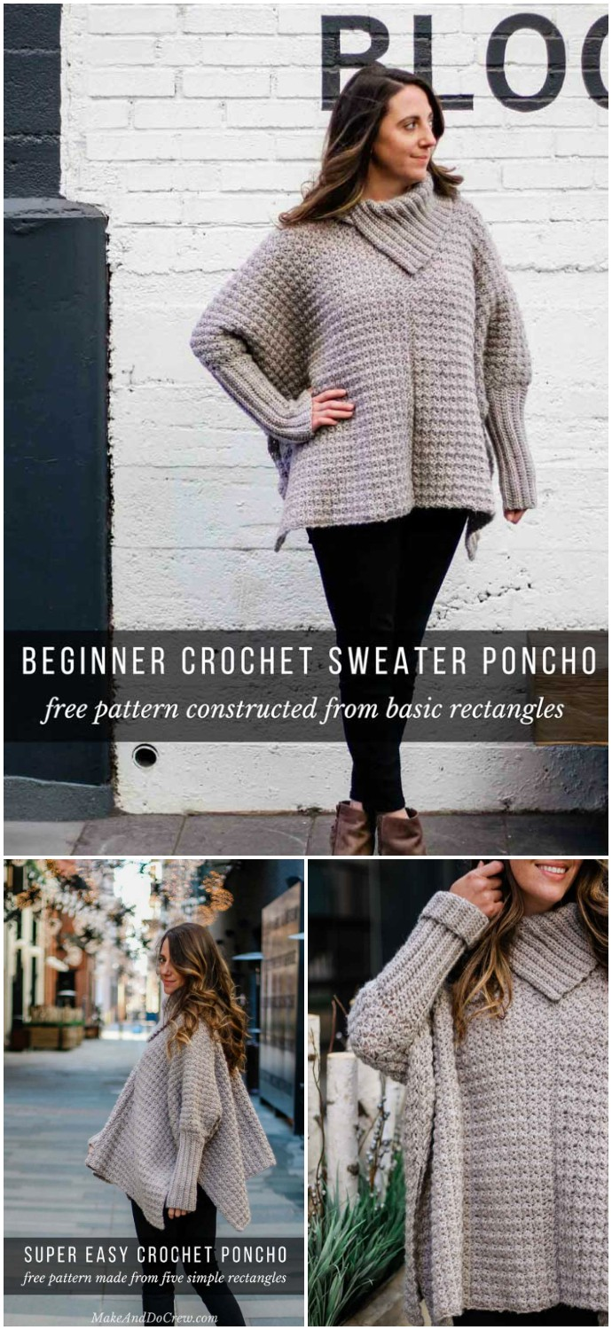 Simple Crochet Poncho With Sleeves