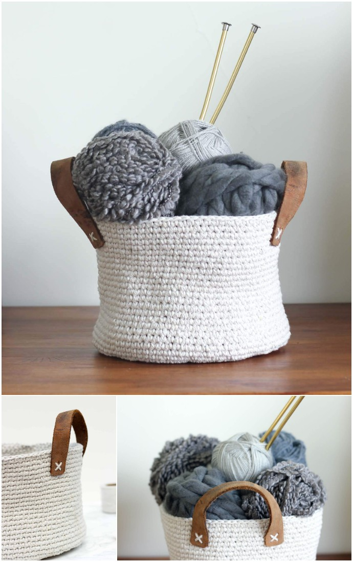 Twine Thrifted Belt Free Crochet Basket