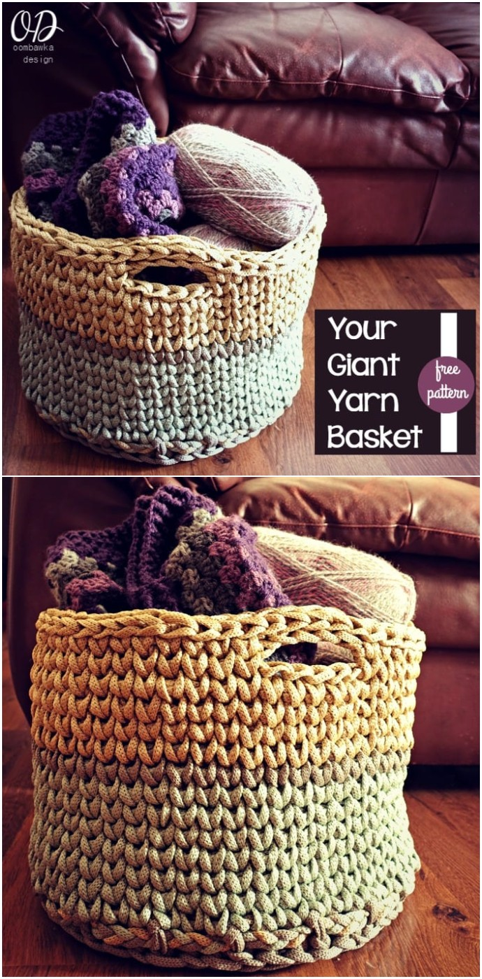 Your Giant Yarn Basket Free Crochet
