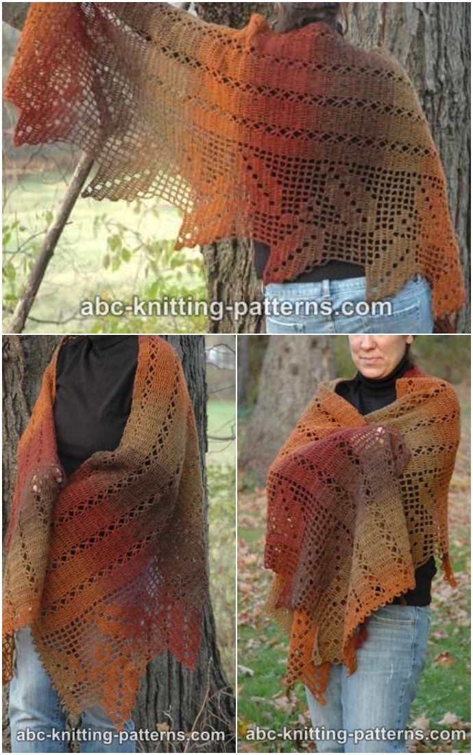 Autumn Leaves Filet Free Crochet Shawl