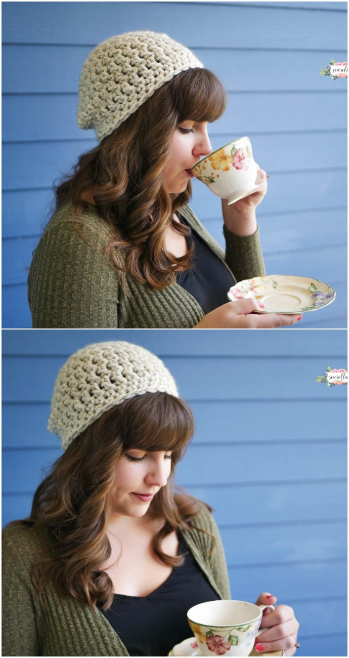 Beginner Free Crochet Slouchy Hat