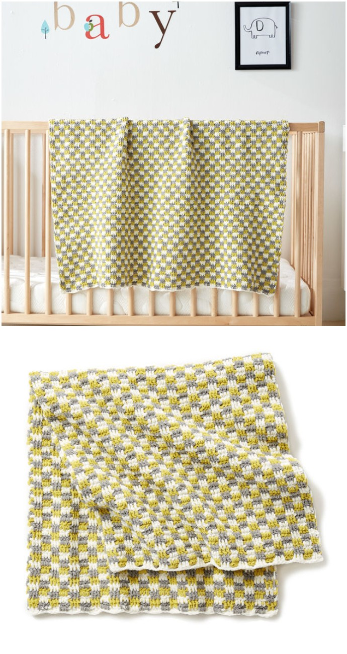 Bernat Checker Free Crochet Baby Blanket
