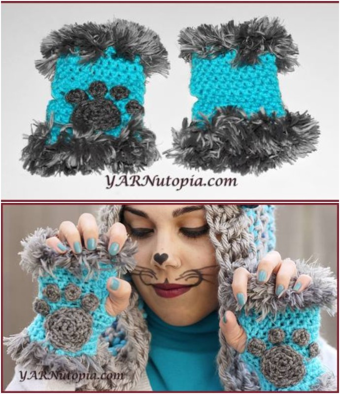 Cat Paw Hand Warmers With Fur
