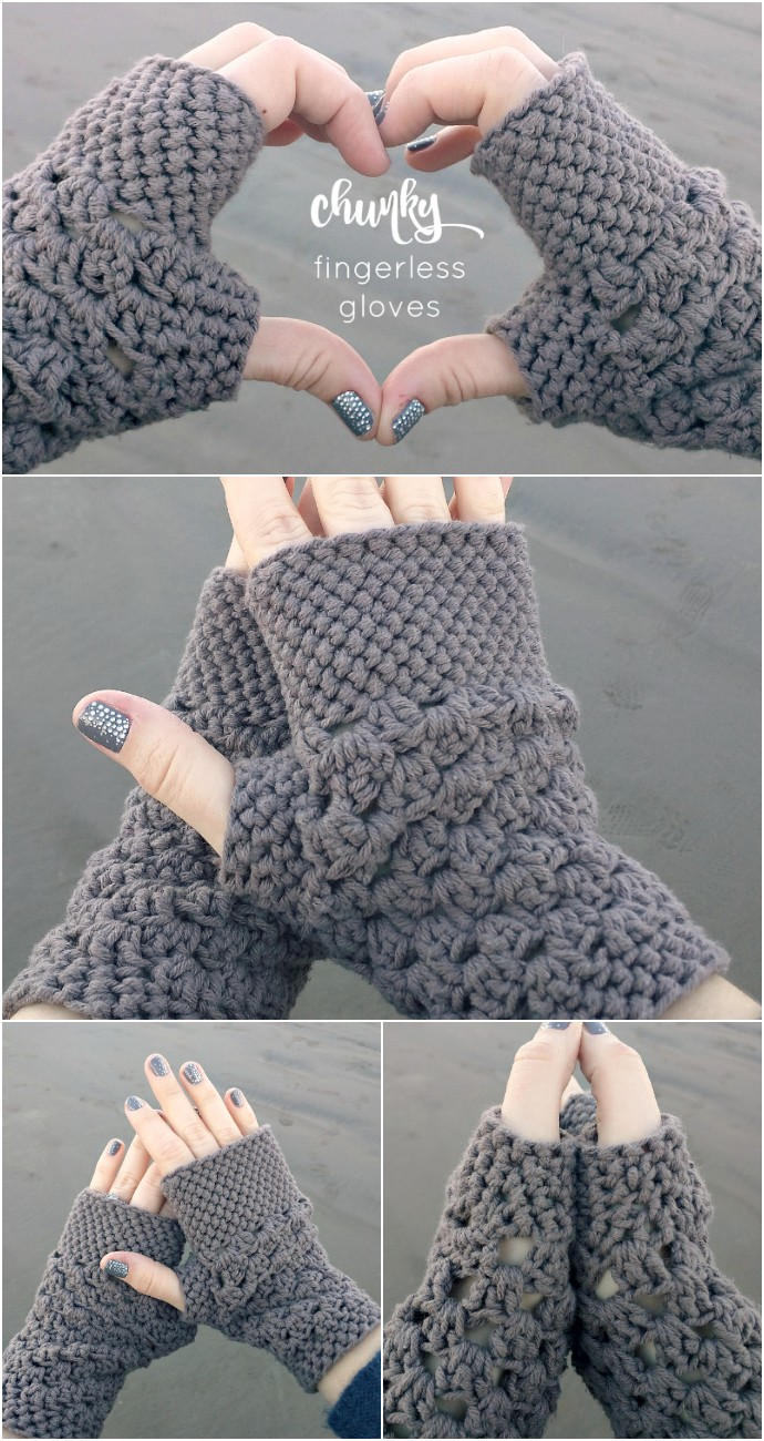 Chunky Fingerless Gloves Free Crochet Pattern