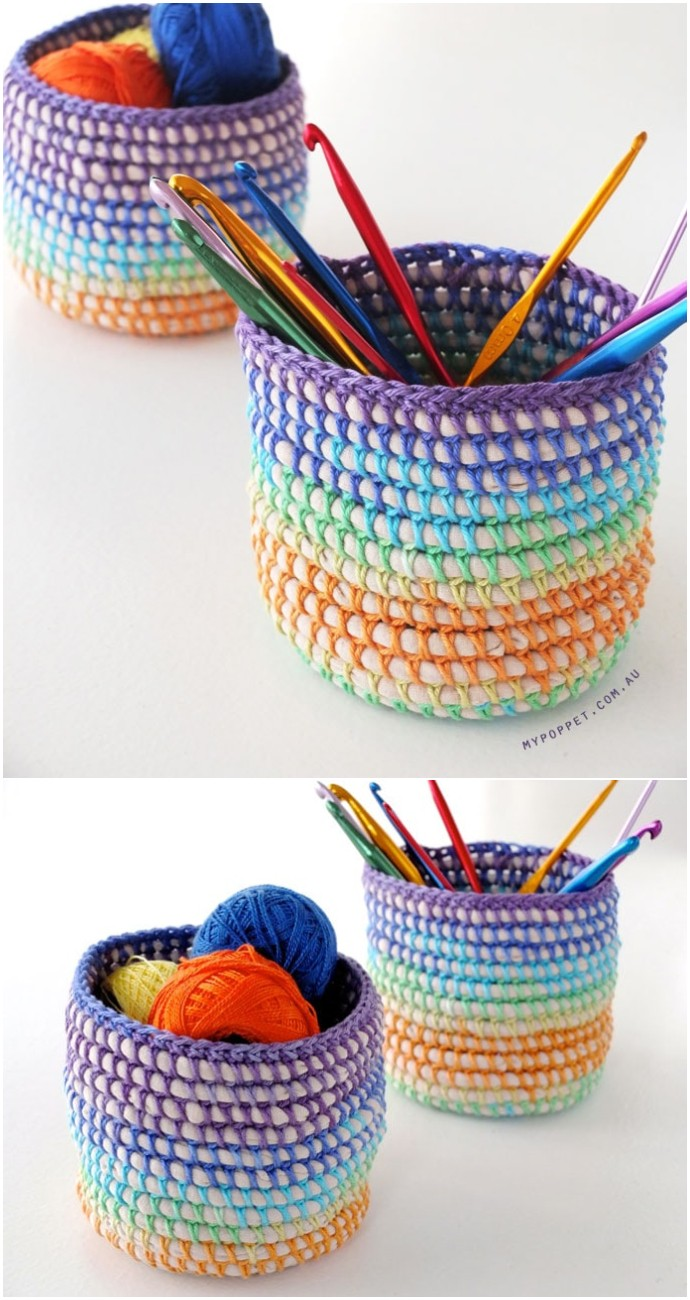 Coil +Free Crochet Rainbow Basket Diy