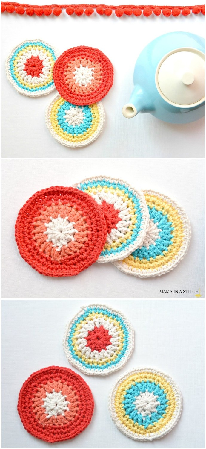 Colorful Little Vintage Coasters Free Crochet