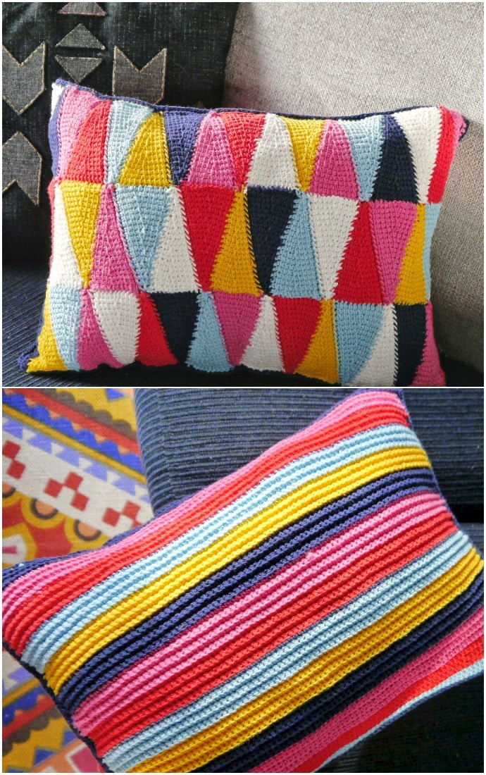 Diy Harlequin Free Crocheted Cushion