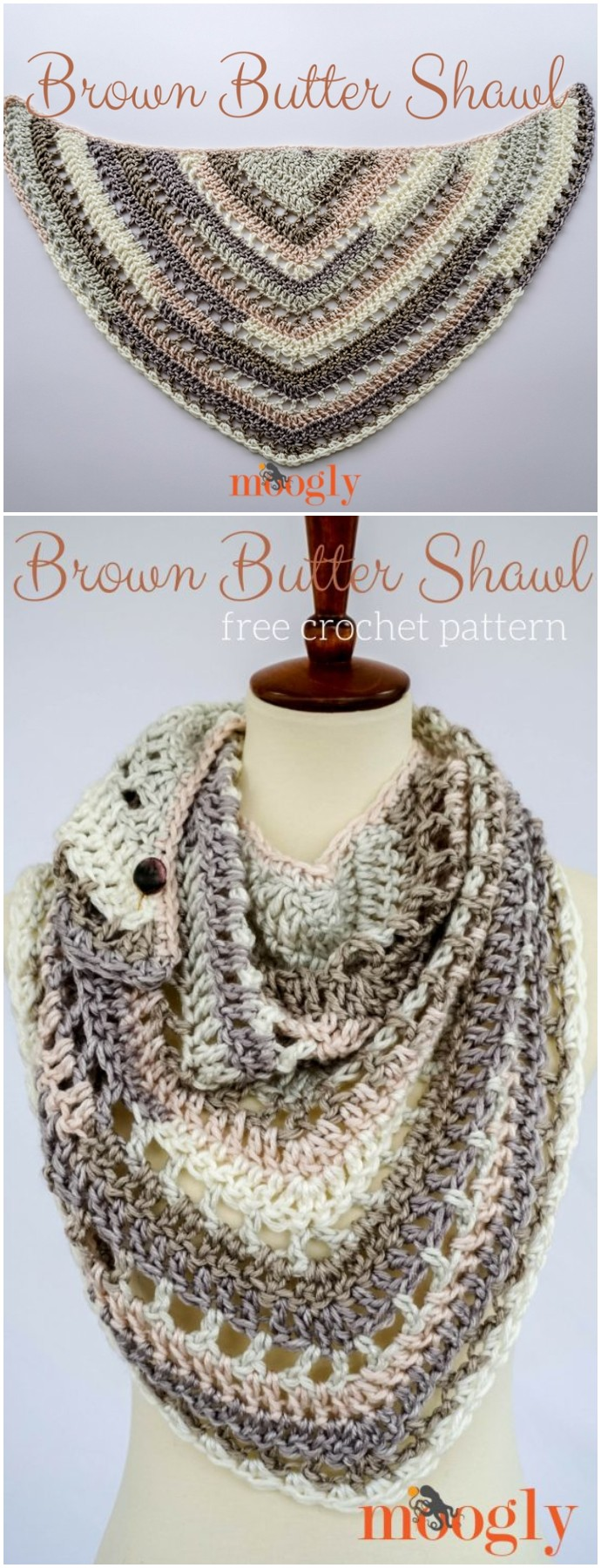 Free Crochet Brown Butter Shawl