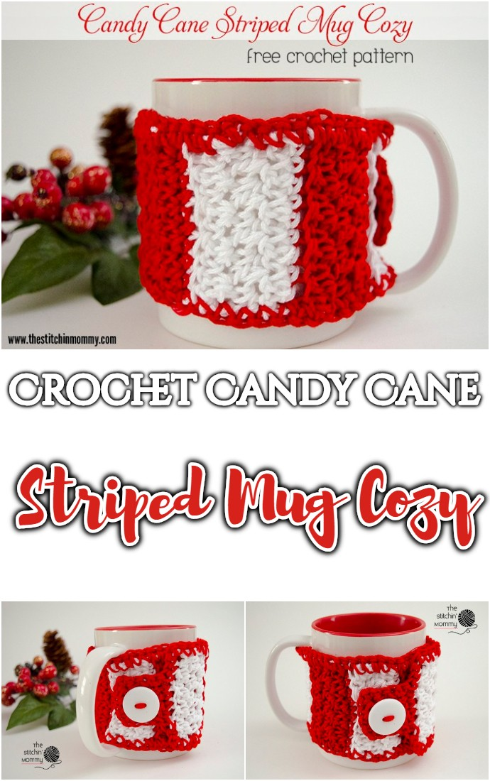 Free Crochet Candy Cane Striped Mug Cozy