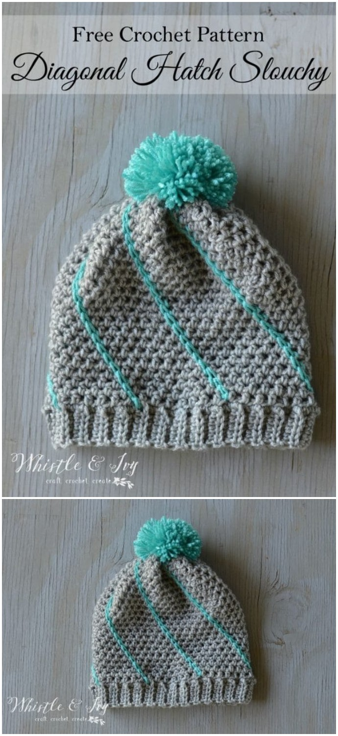 Free Crochet Diagonal Hatch Slouchy Hat