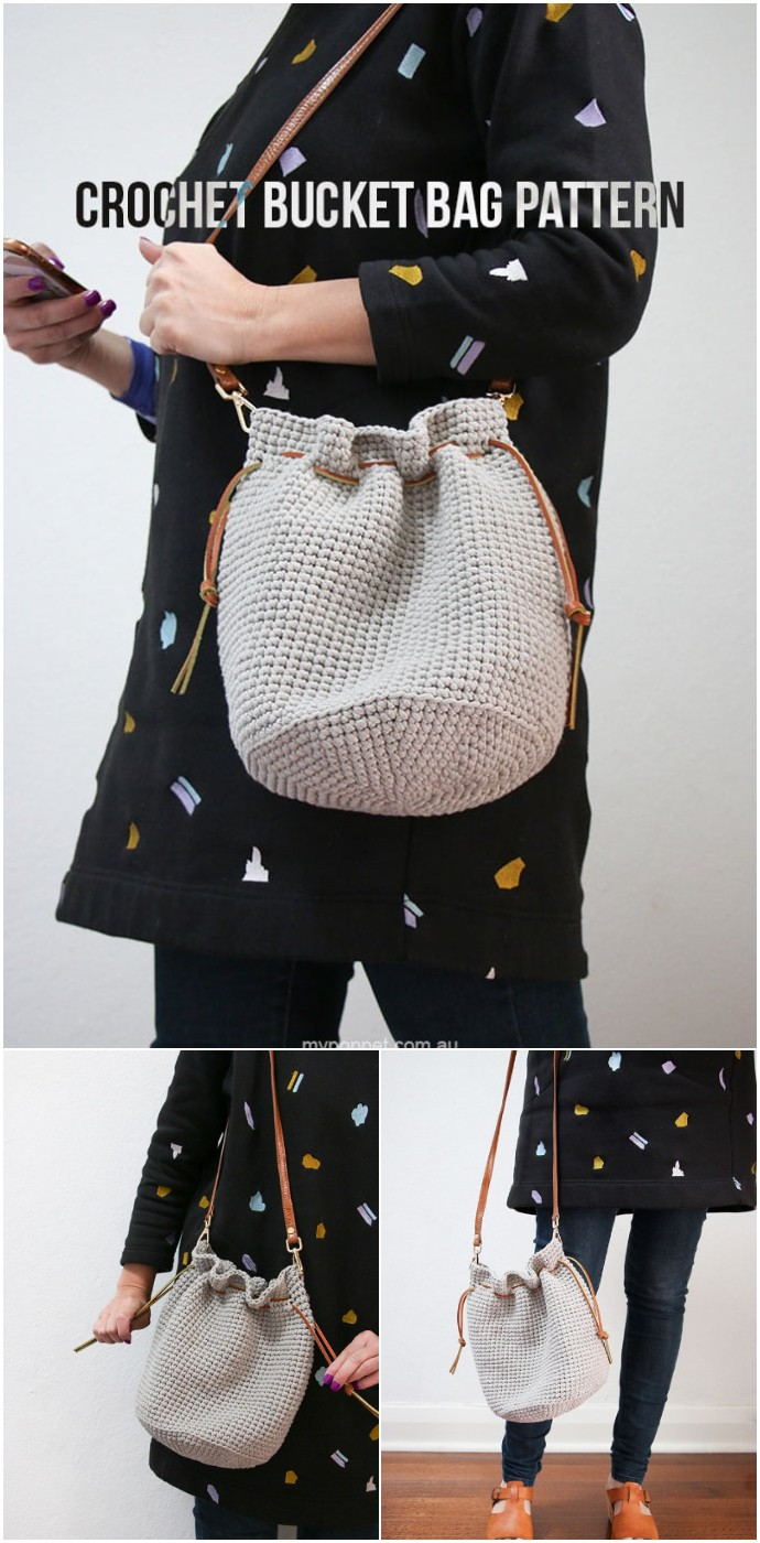 Free Crochet Drawstring Bucket Bag