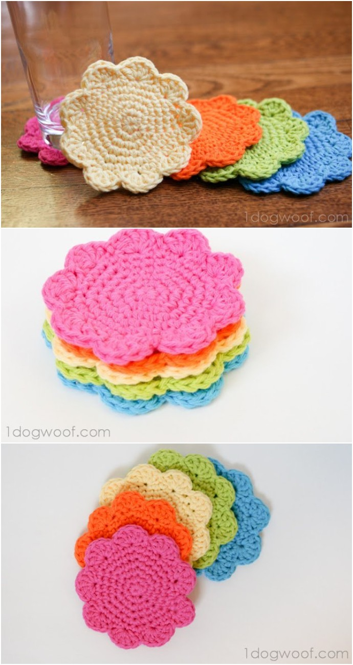 Free Crochet Flower Coasters Pattern
