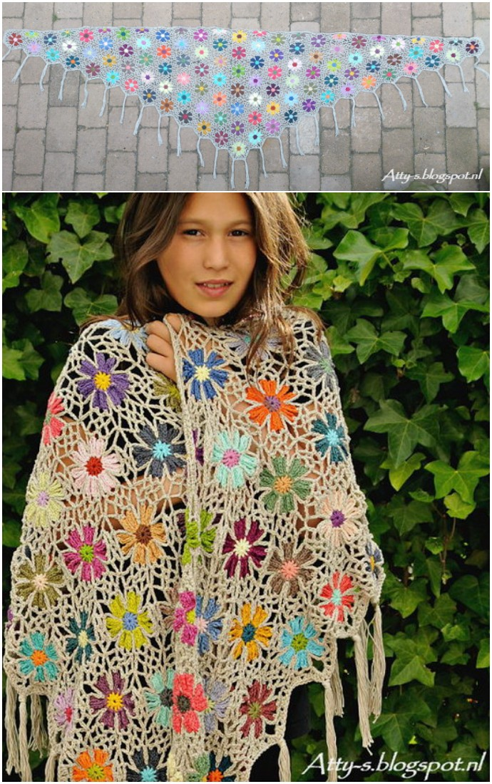 Free Crochet Flower Shawl