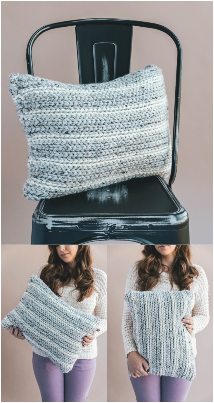 Free Crochet Knit Look Pillow