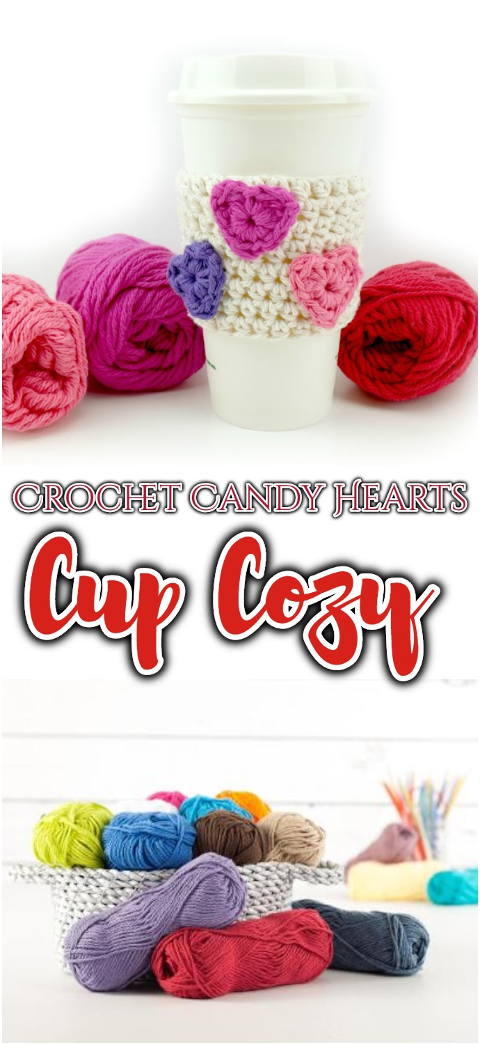 Free Crochet Pattern Candy Hearts Cup Cozy
