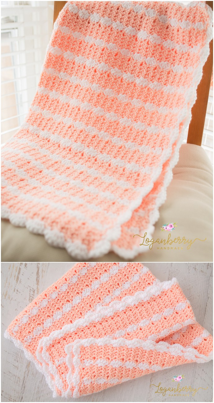 Free Crochet Peaches & Cream Baby Blanket