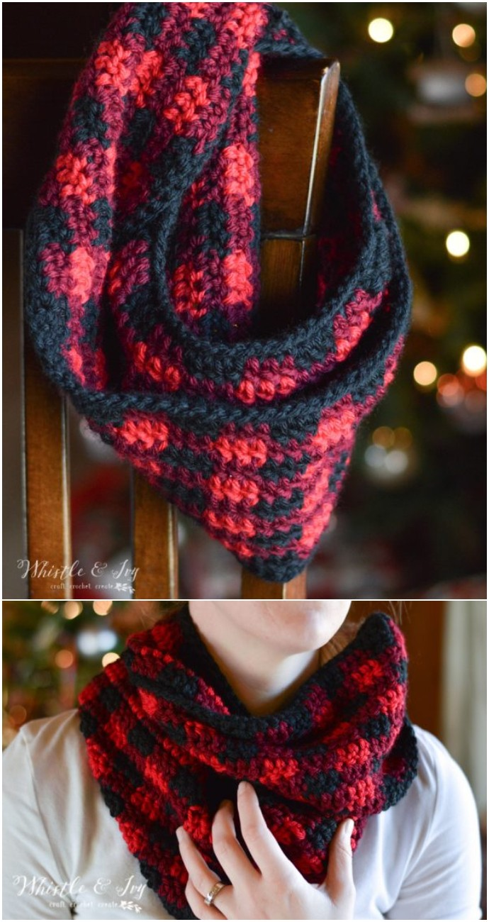 Free Crochet Plaid Infinity Scarf Pattern