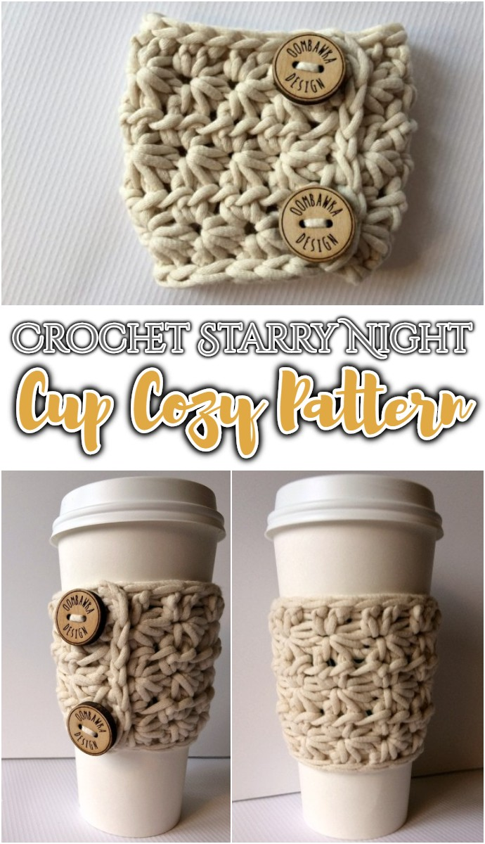 Free Crochet Starry Night Slip on Cup Cozy Pattern