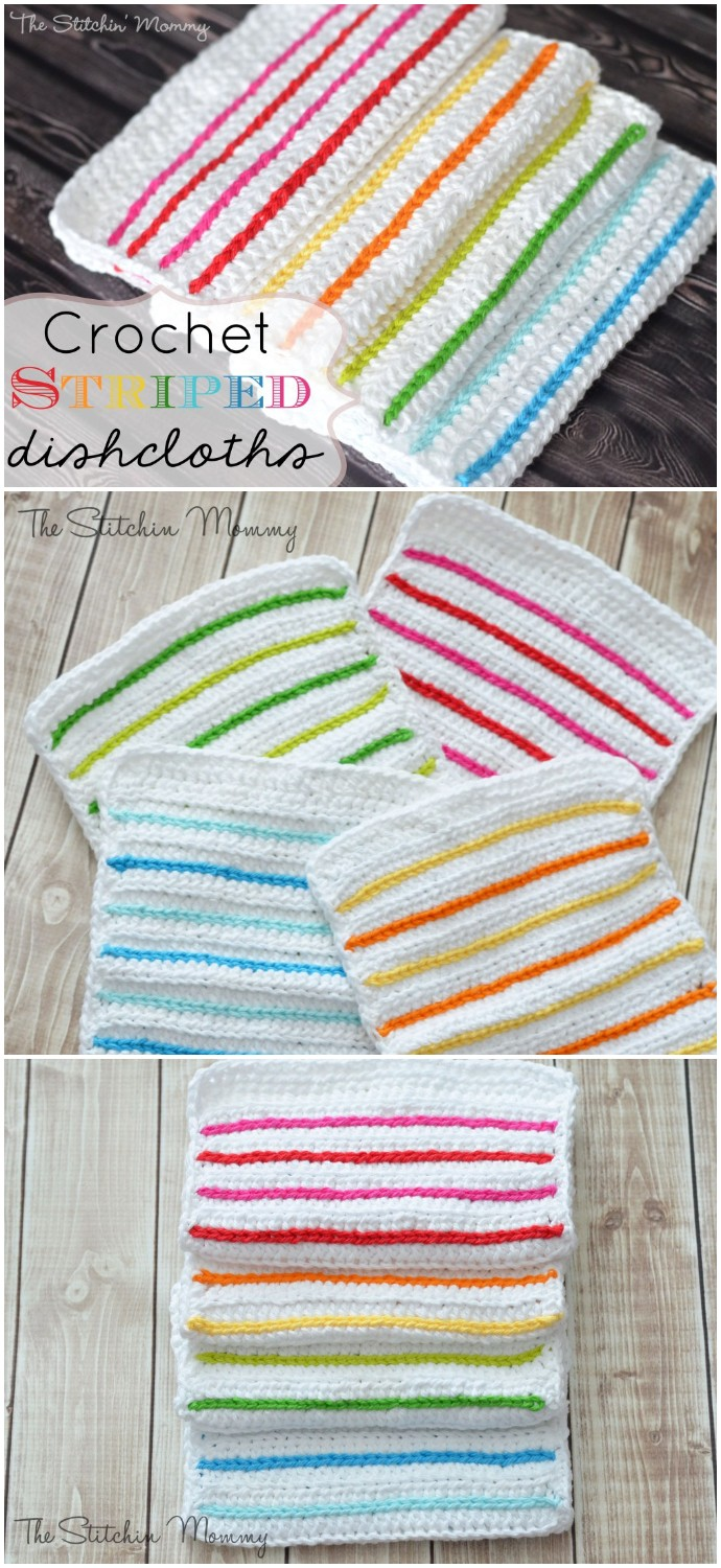 Free Crochet Striped Dishcloths