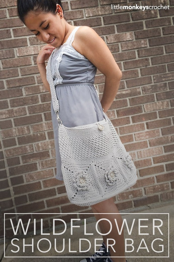 Free Crochet Wildflower Shoulder Bag