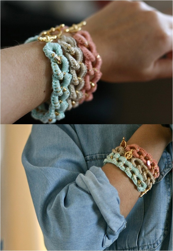 Free Crocheted Chain Bracelet