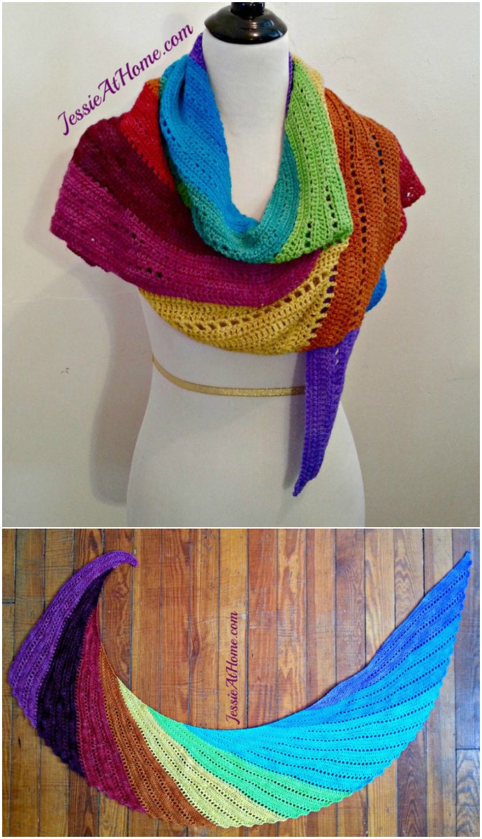 Rainbow Free Crochet Shawl