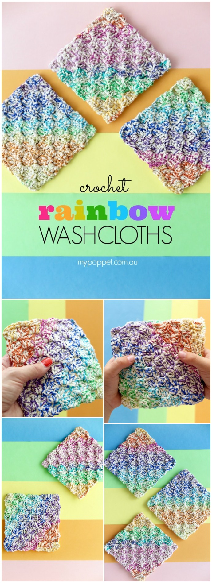 Rainbow Free Crochet Washcloths