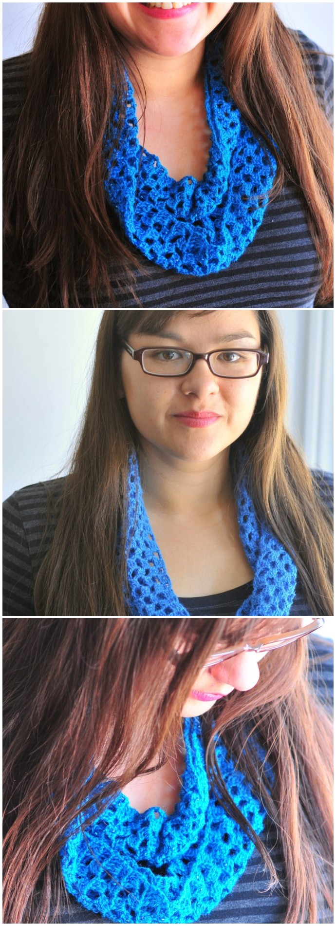 Sparkly Blue Lacy Free Crocheted Infinity Scarf