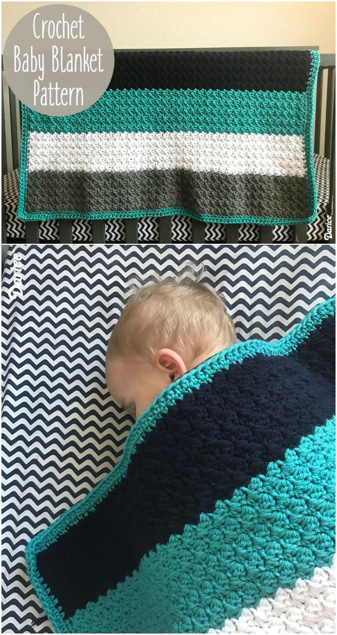 Striped Free Crochet Baby Blanket Pattern