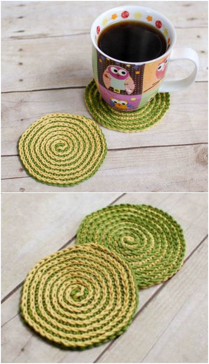 Summer Spiral Free Crochet Coasters Pattern