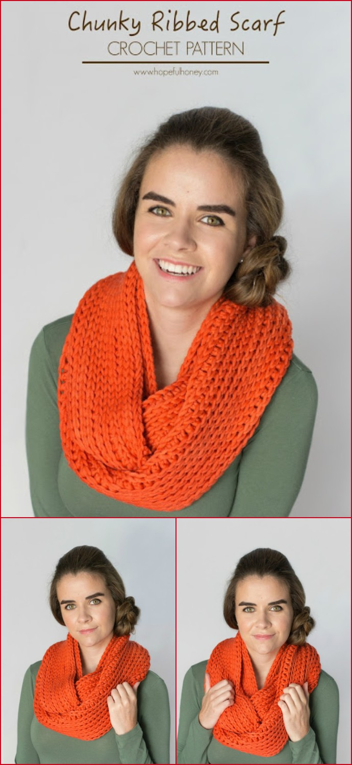 Ribbed Chunky Infinity Scarf Free Crochet Pattern