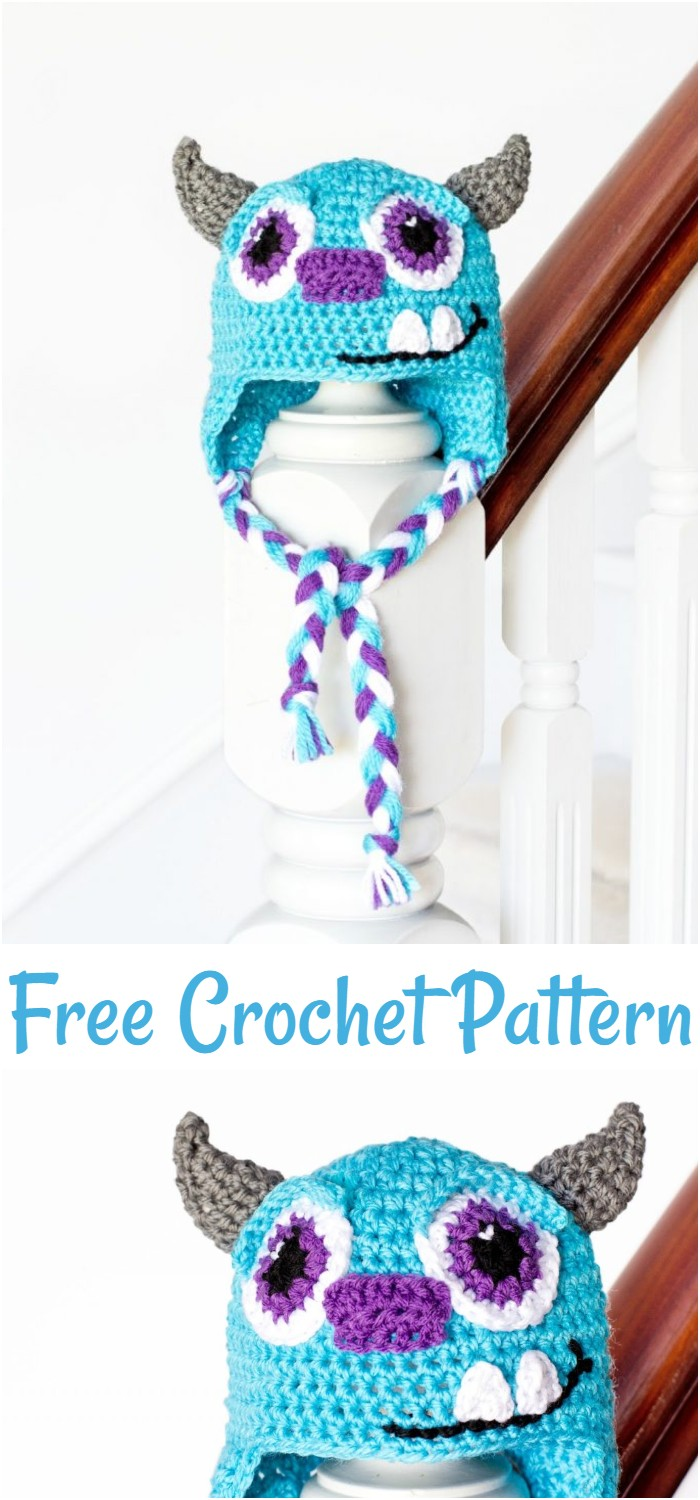 Sulley Inspired Baby Hat Free Crochet Pattern