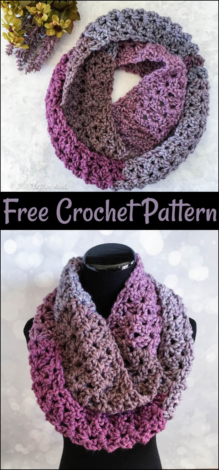 Free Crochet Frosted Berry Infinity Scarf