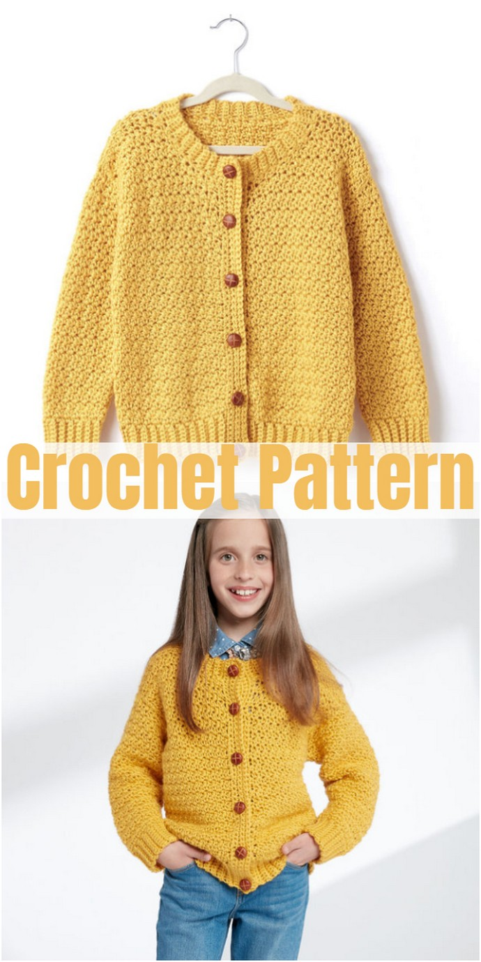 Crochet Crew Neck Cardigan