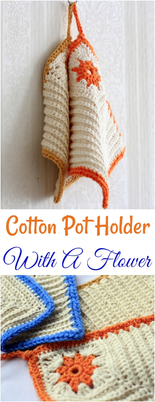 Cotton Pot Holder With A Flower