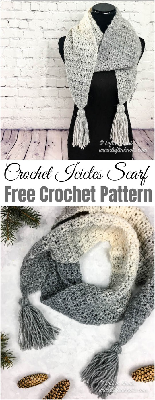 Crochet Icicles Scarf Free One Skein Scarfie Pattern