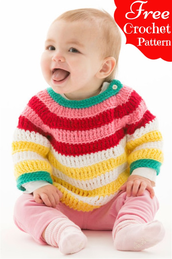 Free Crochet Colorful Striped Pullover